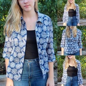 Blue & white floral button-up